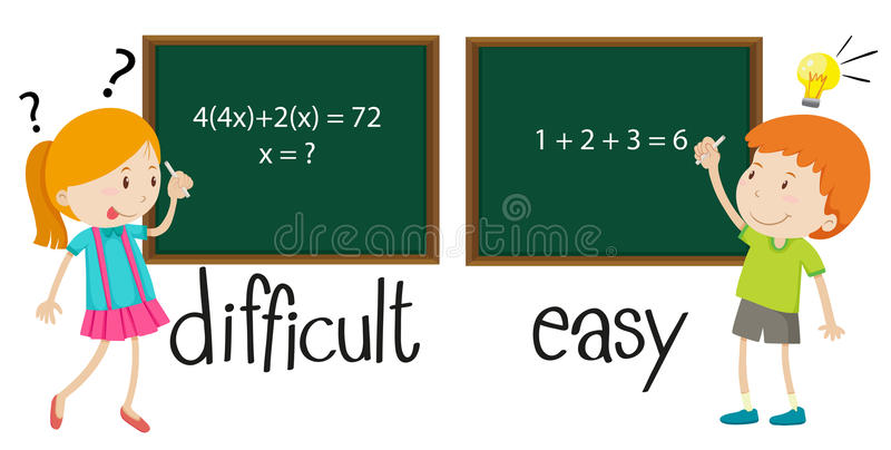 Opposite adjectives difficult and easy stock illustration
