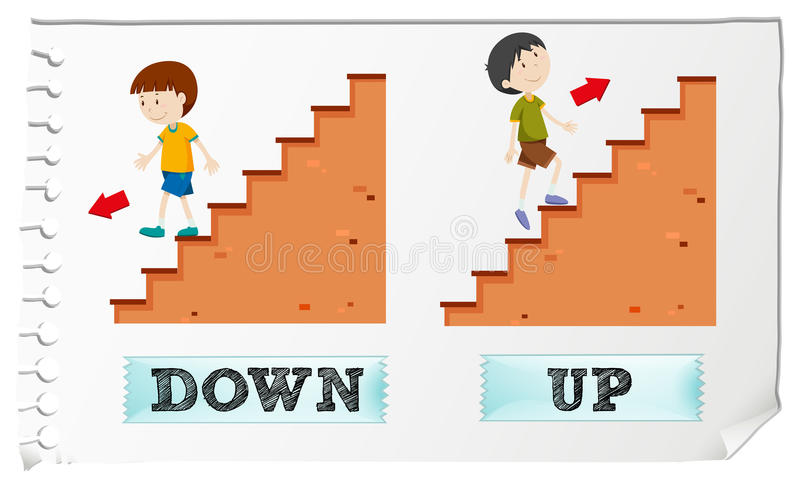Opposite adjectives down and up stock illustration