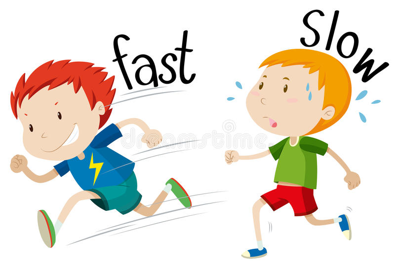 Opposite adjectives fast and slow royalty free illustration