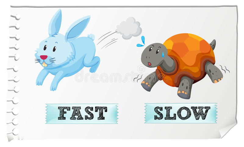 Opposite adjectives fast and slow stock illustration