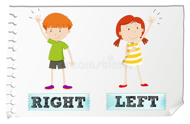 Opposite adjectives with left and right stock illustration