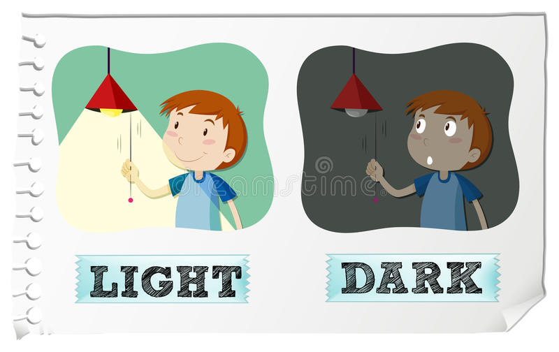 Download Opposite Adjectives Light And Dark Stock Vector