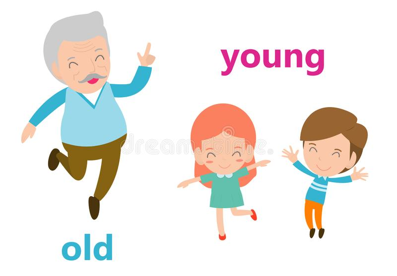 Opposite adjectives old and young illustration, Opposite English Words old and young vector illustration on white background.  vector illustration