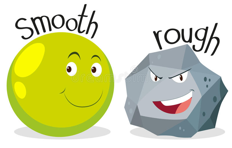 Opposite adjectives smooth and rough stock illustration