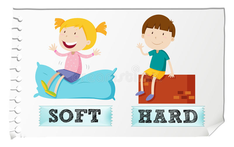 Opposite adjectives soft and hard royalty free illustration