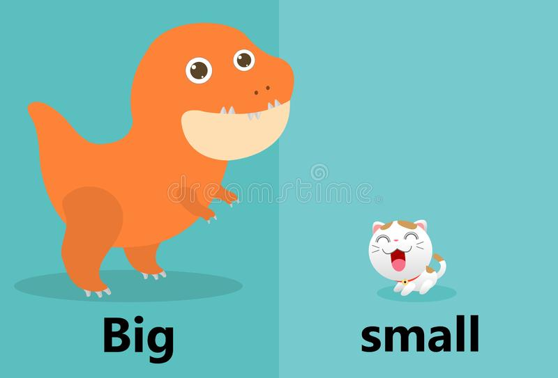 Opposite big and small illustration vector, Opposite English Words big and small on white background. Opposite big and small illustration vector, Opposite stock illustration