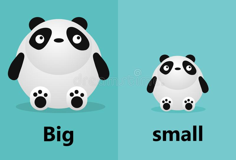 Opposite big and small, Opposite English Words big and small on white background,panda illustration vector. Opposite big and small, Opposite English Words big royalty free illustration