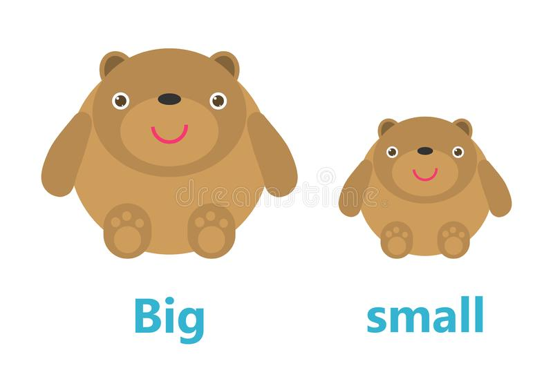 Opposite big and small, Opposite English Words big and small on white background,teddy bear illustration vector. Opposite big and small, Opposite English Words stock illustration