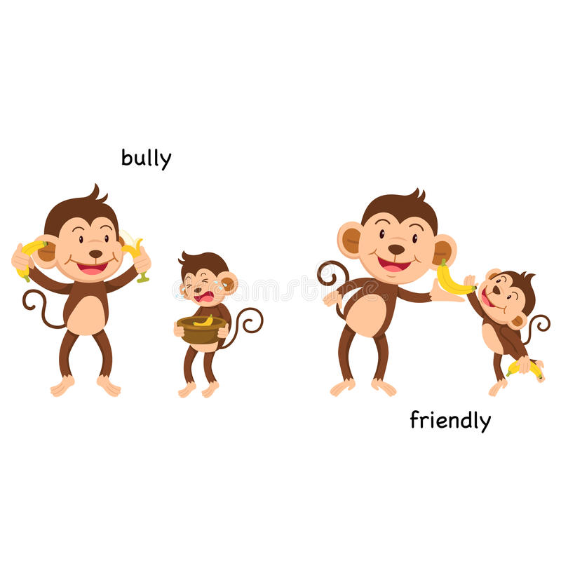 Opposite bully and friendly illustration royalty free illustration