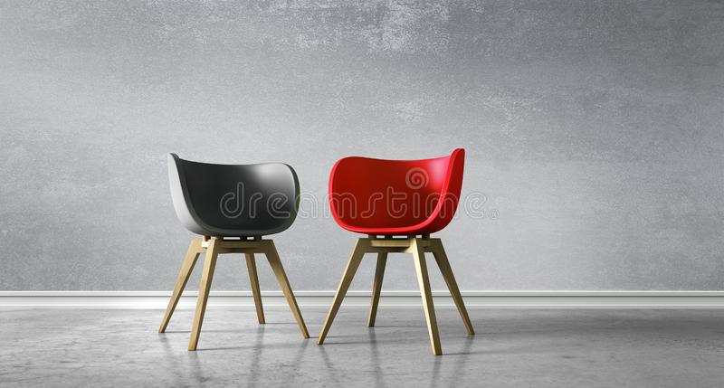 Opposite chairs in a room - concept discussion royalty free illustration