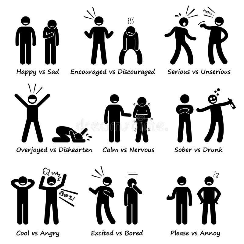 Opposite Czuciowe emocje Pozytywne vs Negatywne akcja kija postaci piktograma ikony royalty ilustracja