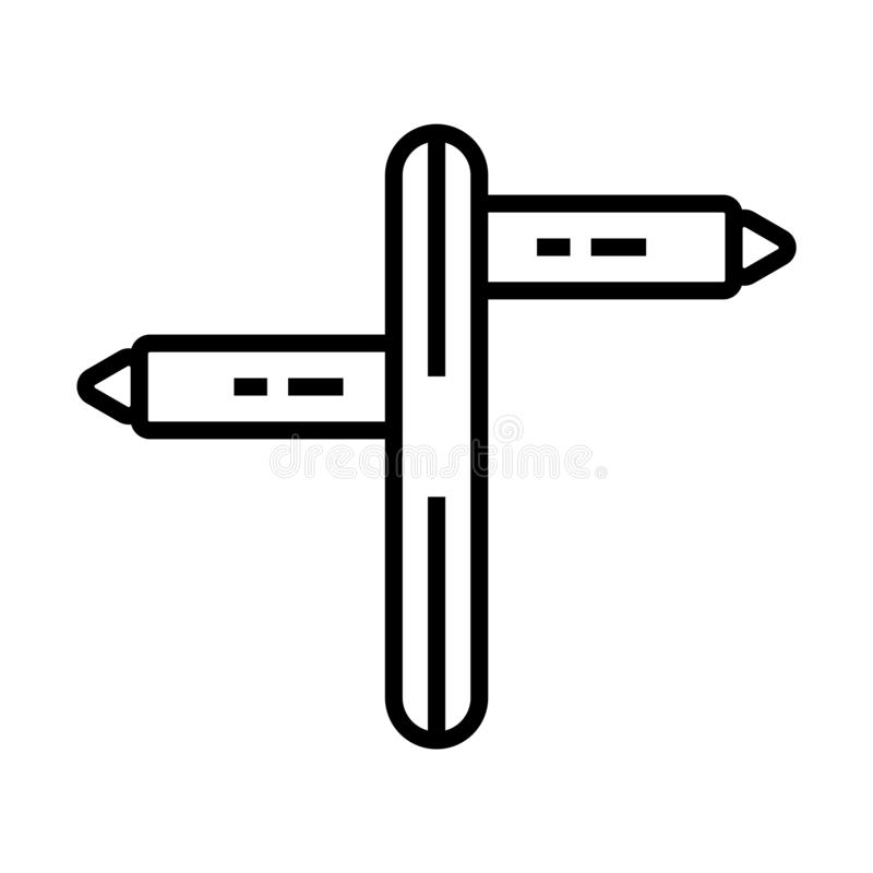 Opposite directions icon vector sign and symbol isolated on white background, Opposite directions logo concept stock illustration