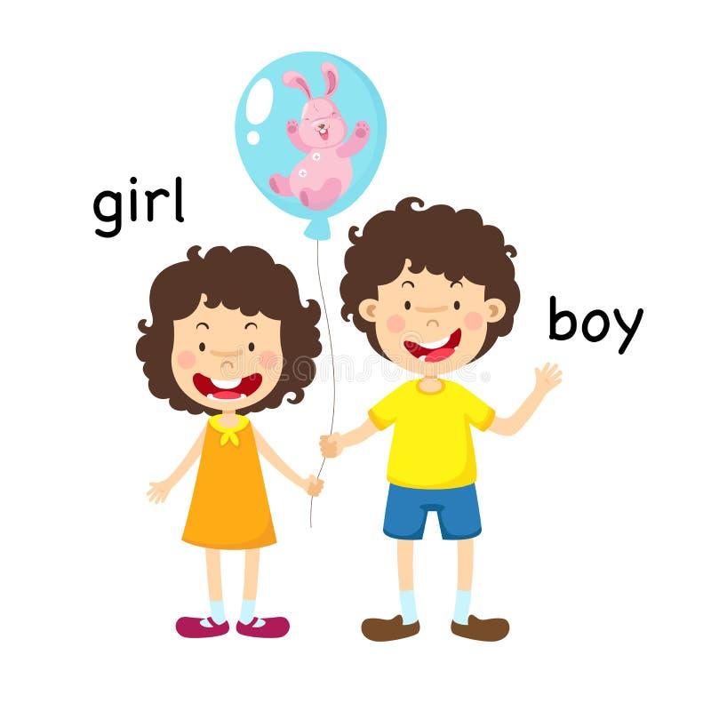 Opposite dziewczyna i chłopiec ilustracja wektor
