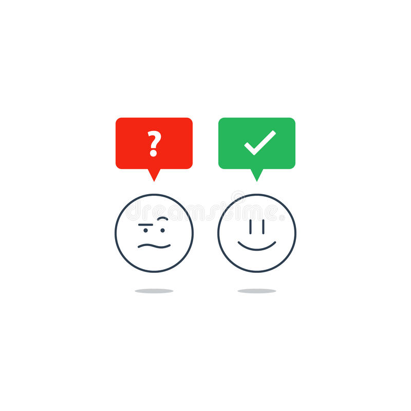 Opposite emotions, smile emoji, sad icon, customer services, feedback survey stock illustration