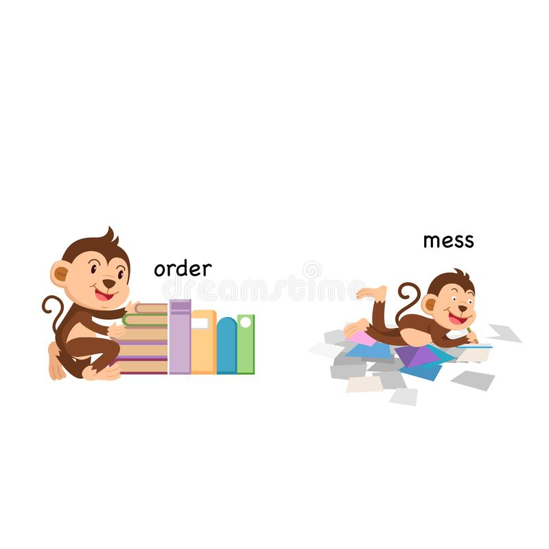 Opposite order and mess. Vector illustration royalty free illustration