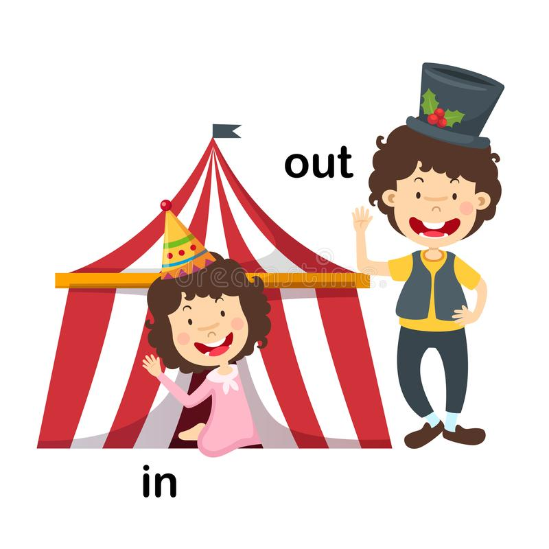 Opposite in and out. Vector illustration stock illustration