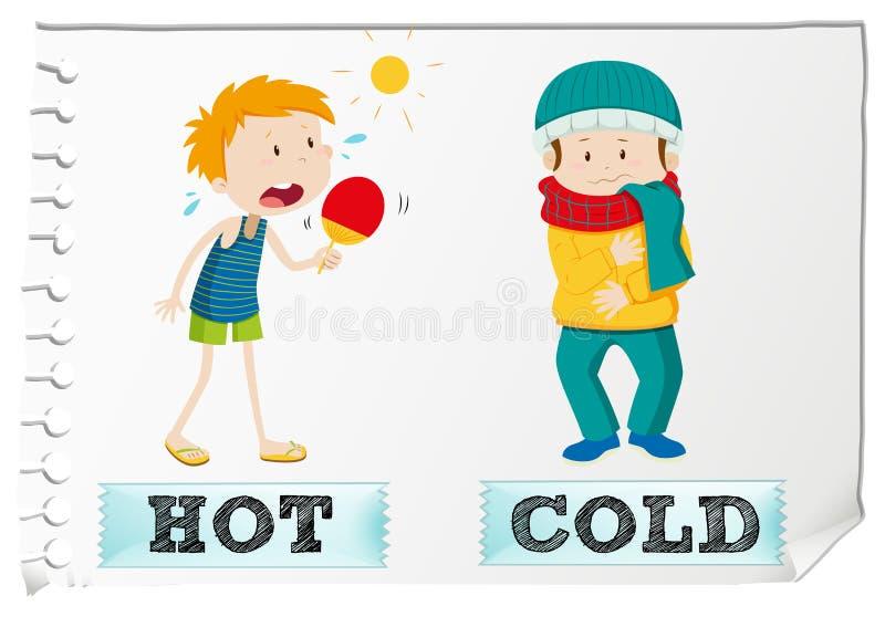 Opposite przymiotniki gorący i zimni ilustracji