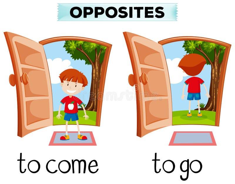 Opposite słowa dla przychodzą i iść ilustracji