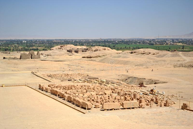 Opposite side of the Temple of Queen Hatshepsut in Luxor near the Valley of Kings. royalty free stock photos