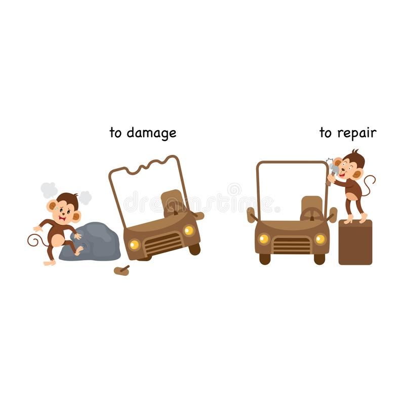 Opposite to damage and to repair. Vector illustration vector illustration