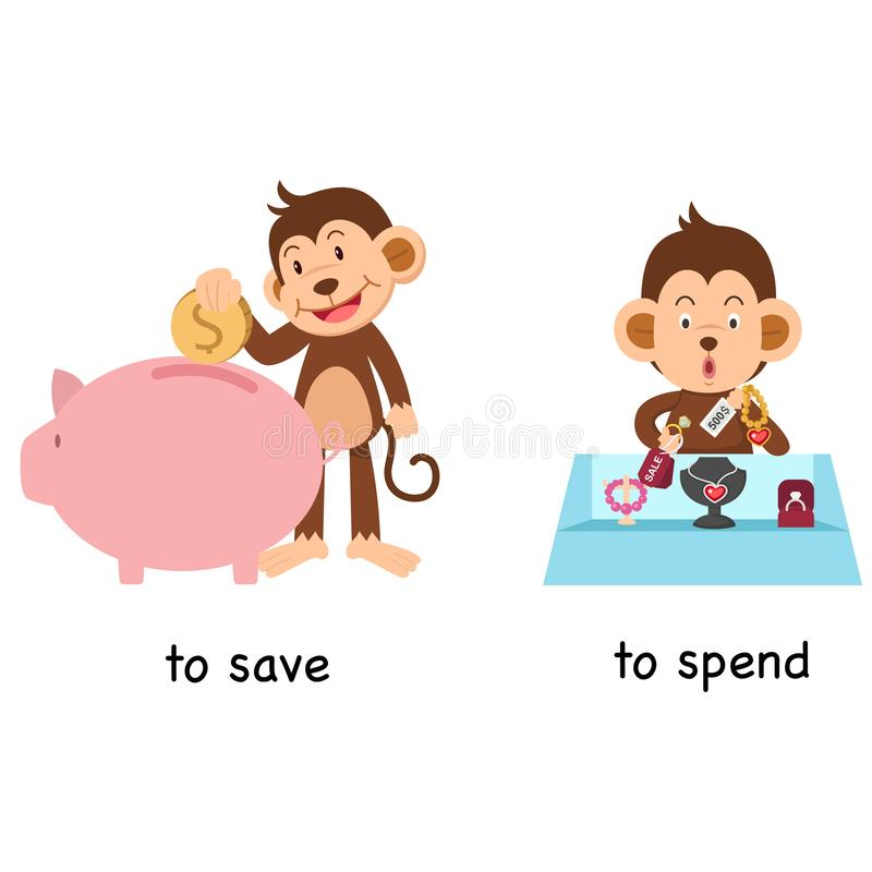 Opposite to save and to spend. Vector illustration royalty free illustration