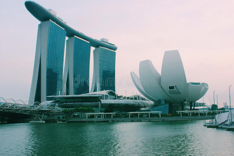 Opposite view of Marina Bay Sands royalty free stock image