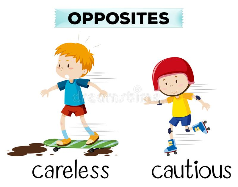 Opposite word of careless and cautious. Illustration stock illustration