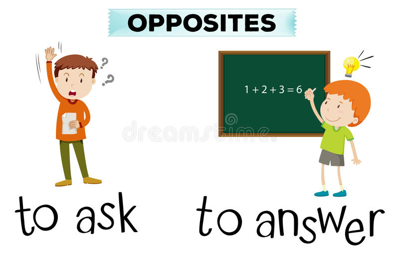 Opposite wordcard for ask and answer royalty free illustration