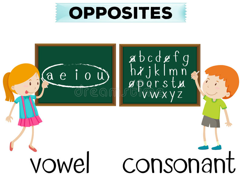 Opposite wordcard dla samogłoski i konsonanta ilustracja wektor