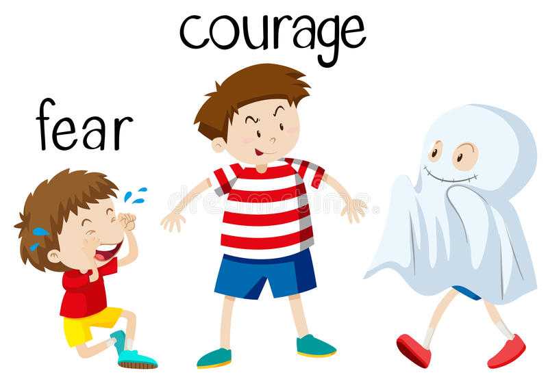 Opposite wordcard for fear and courage. Illustration royalty free illustration