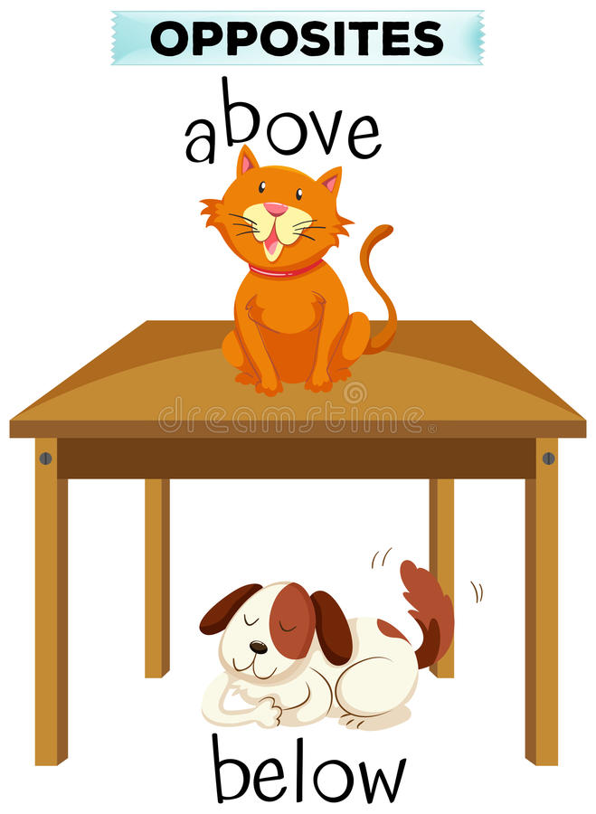 Opposite words for above and below. Illustration vector illustration