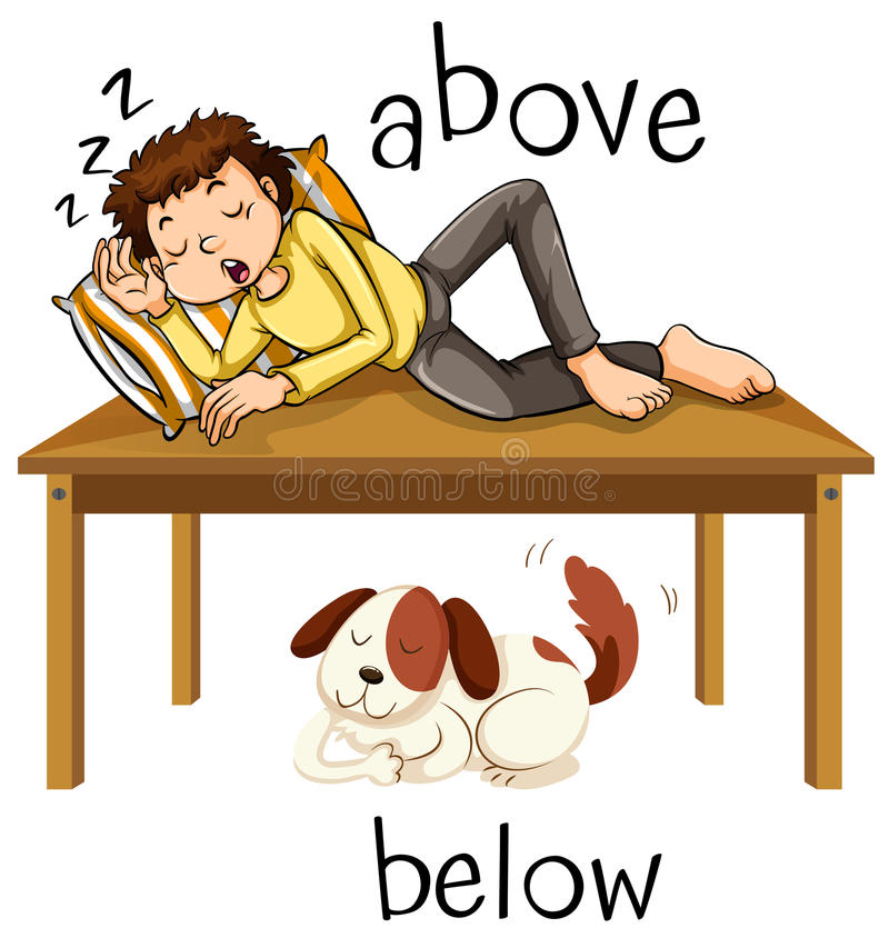 Opposite words for above and below. Illustration stock illustration