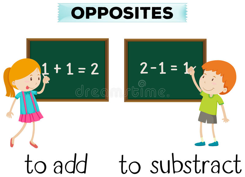 Opposite words for add and subtract. Illustration royalty free illustration