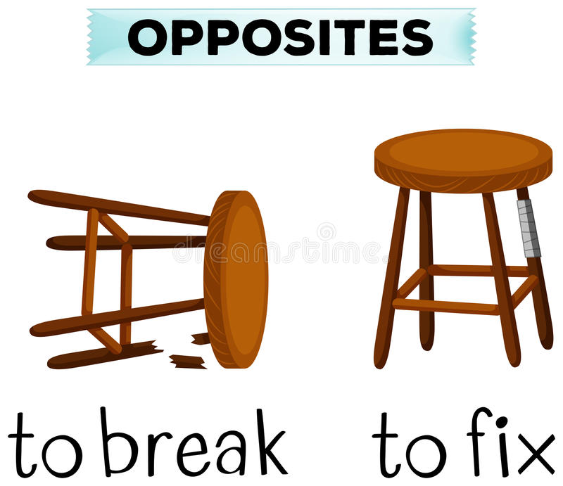 Opposite words for break and fix royalty free illustration