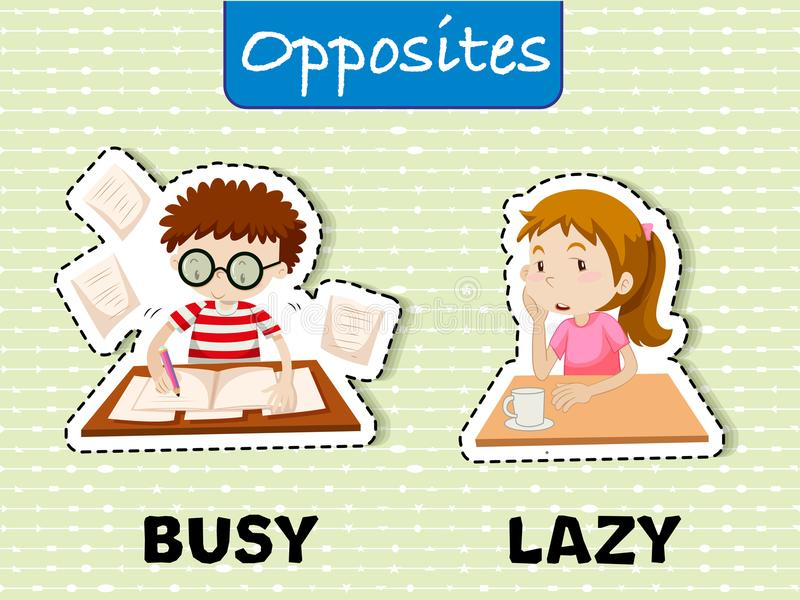 Opposite words for busy and lazy. Illustration royalty free illustration