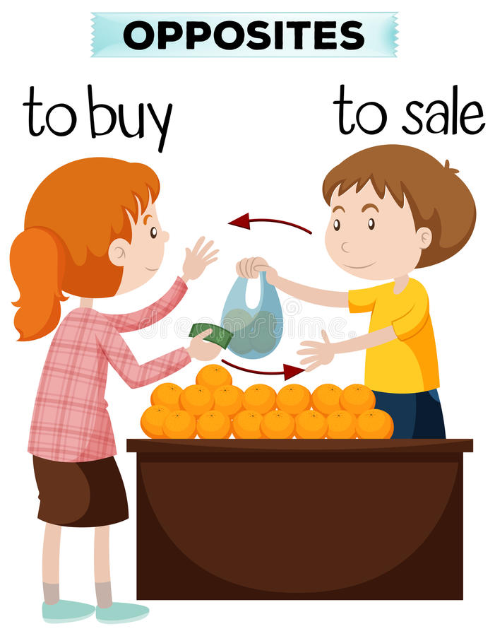 Opposite words for buy and sale. Illustration stock illustration