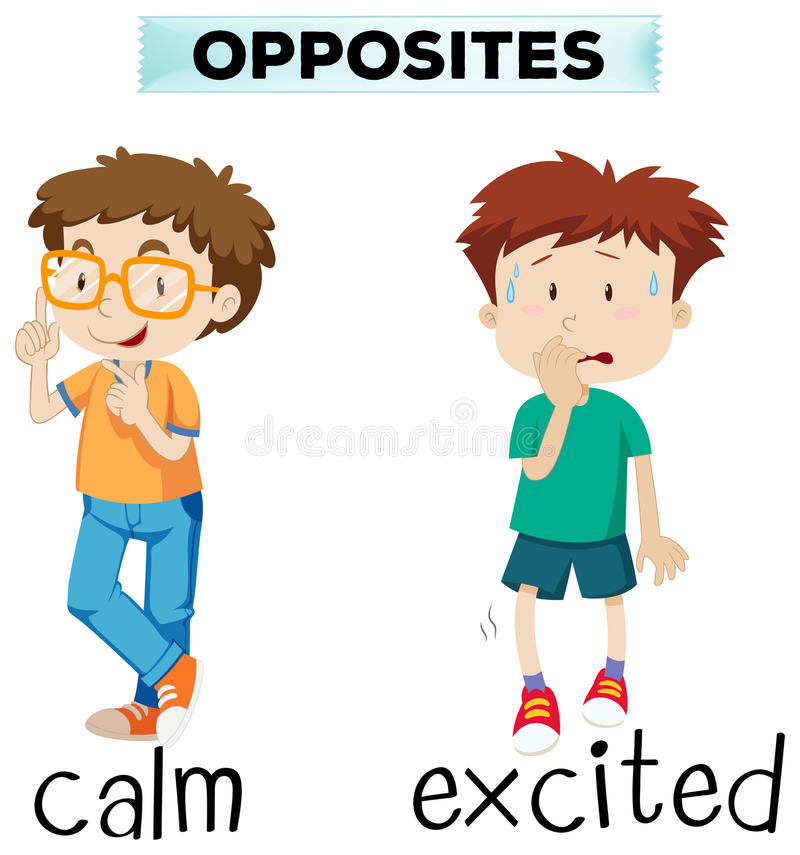Opposite words for calm and excited. Illustration vector illustration