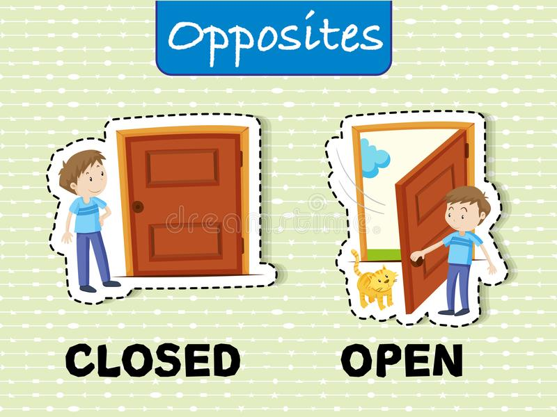 Opposite words for closed and open. Illustration stock illustration