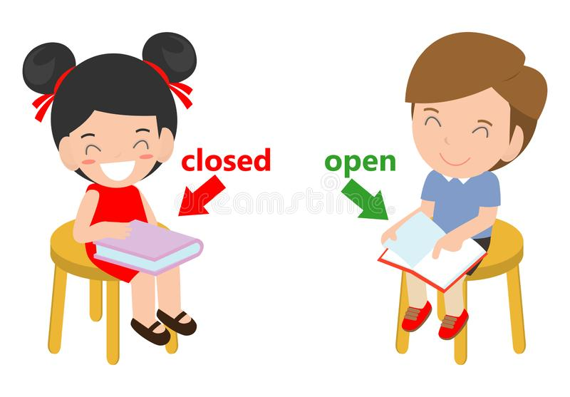 Opposite words closed and open vector illustration, Opposite English Words closed and open vector illustration on white background.  royalty free illustration