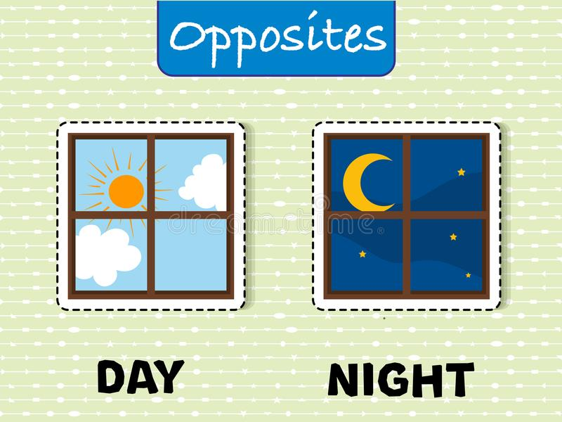 Opposite words for day and night. Illustration royalty free illustration