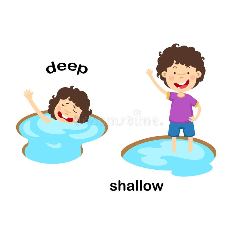Opposite words deep and shallow. Vector illustration royalty free illustration