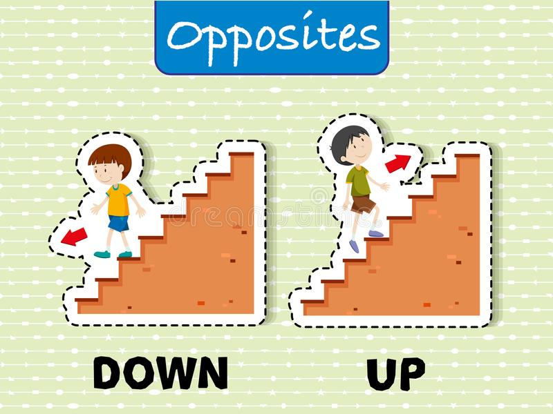 Opposite words for down and up. Illustration vector illustration
