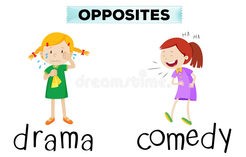 Opposite words with drama and comedy. Illustration stock illustration