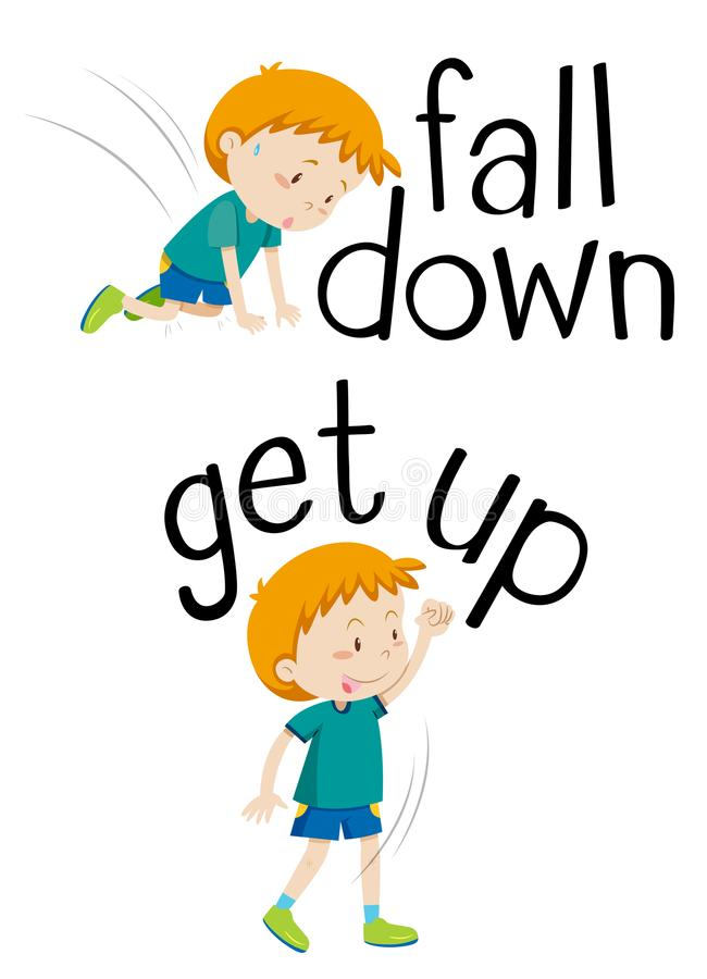 Opposite words for fall down and get up. Illustration vector illustration