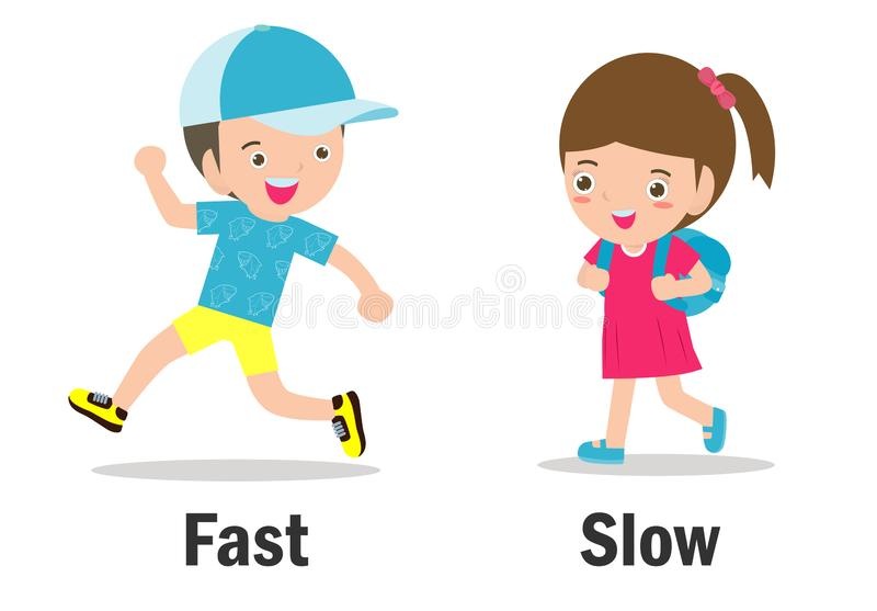 Opposite words fast and slow vector illustration, Opposite English Words fast and slow on white background.  vector illustration