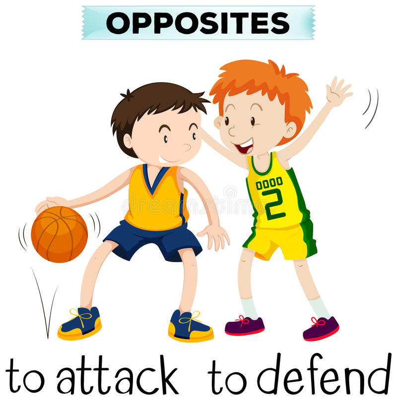 Free Opposite Words For Attack And Defend Stock Images - 84634654