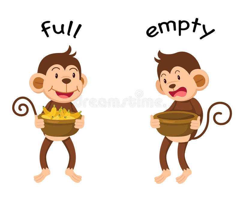 Opposite words full and empty. Vector illustration royalty free illustration