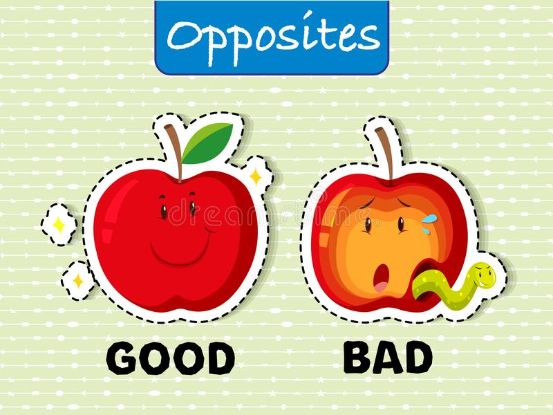 Opposite words for good and bad. Illustration royalty free illustration