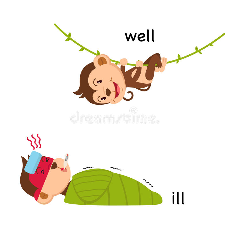Opposite words ill and well vector. Illustration royalty free illustration