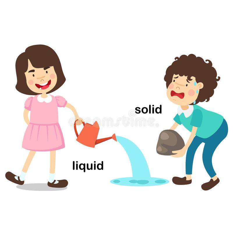 Opposite words liquid and solid. Vector illustration royalty free illustration